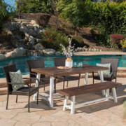 Christopher Knight Home Cecilia Outdoor 6 Piece Stacking Multibrown Wicker Dining Set with Dark Brown Sandblast Finish Acacia