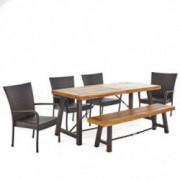 Christopher Knight Home 302561 Salla 6 Piece Outdoor Dining Set, 6-Pcs, Teak Finish/Rustic Metal/Multibrown
