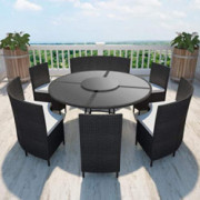 Unfade Memory Patio Furniture Conversation Set 7 Pcs Outdoor Dining Sets with Cushions Wicker Dining Table Chair  Black