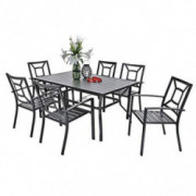 PHI VILLA Metal 7 Piece Patio Rectangular Table and Armrest Bistro Chairs Dining Set with Umbrella Hole - Black