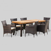 Christopher Knight Home Randy | Outdoor 7-Piece Acacia Wood and Wicker Dining Set with Cushions | Teak Finish | in Multibrown