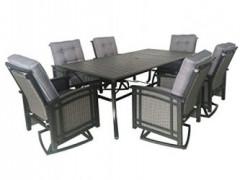 Pebble Lane Living 7pc Cast Aluminum Swivel Rocking Patio Dining Set