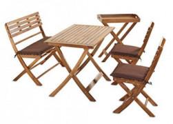 Sunset Garden SG115 | Bravo Folding Patio Dining | 5-Piece Real Wood, Natural