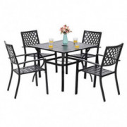 PHI VILLA 5 Piece Patio Armrest Dining Chairs and Larger Square Table Set
