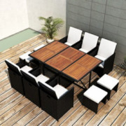 Tidyard 11 Piece Outdoor Garden Dining Set, Patio Dining Table Furniture Set, Comfortable Cushions, Poly Rattan Black, Space