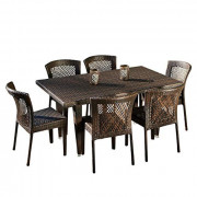 Christopher Knight Home Dusk Outdoor Dining Set, 7-Pcs Set, Multibrown