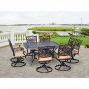 Hanover TRADDN9PCSWSQ-8 Traditions 9-Piece Rust-Free Aluminum Patio Dining Set Outdoor Furniture, 60 x 60, Tan