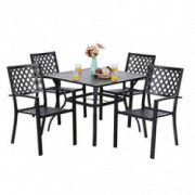 """PHI VILLA 5-Piece Metal Patio Outdoor Table and Chairs Dining Set- 37"""" Square Bistro Table and 4 Backyard Garden Chairs, Tabl"""