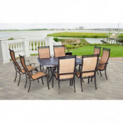 Hanover MANDN9PCSQ-P Manor 9-Piece Rust-Free 8 PVC Sling Chairs and Aluminum Square T Outdoor Patio Dining Set