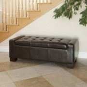 Rothwell Brown Leather Storage Ottoman