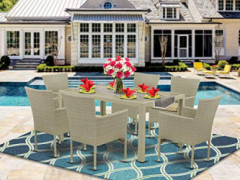East West Furniture JUBK703A 7Pc Outdoor Natural Color Wicker Dining Set Includes a Patio Table and 6 Balcony Backyard Armcha