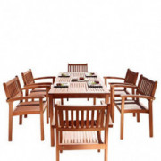 Malibu V98SET10 7 Piece Wood Outdoor Dining Set with Stacking Dining Chairs
