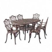 Christopher Knight Home Haitian Cast Aluminum Outdoor Dining Set, 7-Pcs Set, Copper