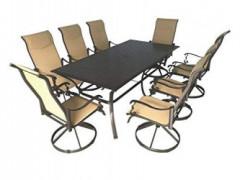 Pebble Lane Living 9pc Aluminum Padded Sling Swivel Rocking Patio Dining Set with Arms -Bronze