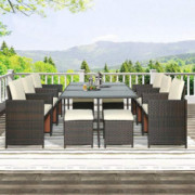 Merax 11 Pcs Outdoor Patio Furniture Set, Rattan Wicker Patio Dining Table Set Garden Coversation Sofa Set