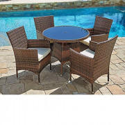 Patiomore Outdoor 5-Piece Set Furniture Round Dining Table and Chairs Washable Cushions,All-Weather Wicker, Patio, Backyard,