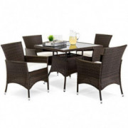 Best Choice Products 5-Piece Indoor Outdoor Wicker Patio Dining Set Furniture w/Table, Umbrella Cutout, 4 Chairs - Brown