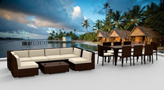Urban Furnishing.net - Brown Series 16 Piece Outdoor Dining and Sofa Sectional Patio Furniture Set