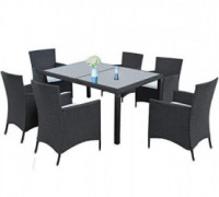 LZ LEISURE ZONE 7-Piece Outdoor Wicker Dining Set - Dining Table Set for 6 - Patio Rattan Furniture Set with Beige Cushion  B
