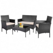 KaiMeng Patio Furniture Sets Outdoor 4 Pieces Indoor Use Conversation Sets Rattan Wicker Chair with Table Backyard Lawn Porch