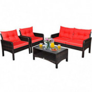 Tangkula 4 Pcs Wicker Patio Furniture Set, Outdoor Conversation Set with Tempered Glass Top Table, Sectional Wicker Sofa Set
