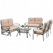 Oakmont 5Pcs 6 Seats  Outdoor Metal Furniture Sets Patio Conversation Set Glider, 2 Single Chairs, Loveseat and Coffee Table,
