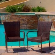 Ferndale Outdoor Brown Wicker Dining Chairs (Set of 2)