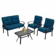 Incbruce 4Pcs Outdoor Indoor Patio Furniture Conversation Set  Loveseat, Coffee Table, 2 Chairs  - Steel Frame Patio Seating