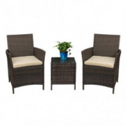 Devoko Patio Porch Furniture Sets 3 Pieces PE Rattan Wicker Chairs with Table Outdoor Garden Furniture Sets  Brown/Beige
