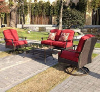 Better Homes and Gardens Powder-Coated Steel with Cushions Providence 4-Piece Patio Conversation Set,Seats For 4, And Tempere
