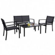 Flamaker 4 Pieces Patio Furniture Outdoor furniture Outdoor Patio Furniture Set Textilene Bistro Set Modern Conversation Set