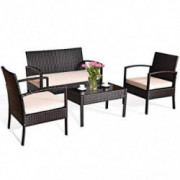Tangkula 4 PCS Patio Furniture Sets, Rattan Chair Wicker Set, Outdoor Bistro Sets, w/Coffee Table & Washable Couch Cushions,