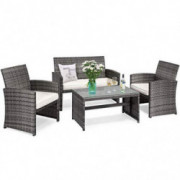 Tangkula 4-PCS Wicker Patio Conversation Set, Outdoor Rattan Sofas with Table Set, Patio Furniture Set with Soft Cushions & T