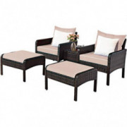 Tangkula Wicker Furniture Set 5 Pieces PE Wicker Rattan Outdoor All Weather Cushioned Sofas and Ottoman Set Lawn Pool Balcony