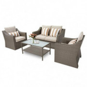 Oakmont 4-Piece Patio Conversation Set Outdoor Wicker Furniture Sofa Set with Beige Olefin Fiber Cushions and Coffee Table  G