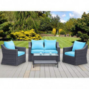 Stamo 5 Piece Outdoor Patio Conversation Furniture Sets, All Weather Charcoal PE Rattan Wicker Cushioned Sectional Sofa Chair