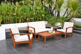 Amazonia Prescott Patio 4-Piece Conversation Set | Durable Eucalyptus with Natural Finish, White