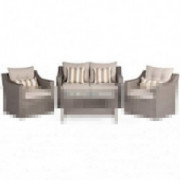 Incbruce 4Pcs Outdoor Patio Sofa Set PE Rattan Wicker Conversation Set with Sophisticated Glass Coffee Table and Soft Cushion