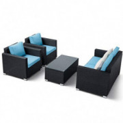 Oakmont Outdoor Patio Furniture 4-Piece Conversation Set All Weather Wicker with Sky Blue Cushion Black Coffee Table Backyard