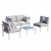 Outsunny 4 Piece Outdoor Furniture Patio Conversation Seating Set with a Loveseat, 2 Sofa Chairs, Coffee Table, White