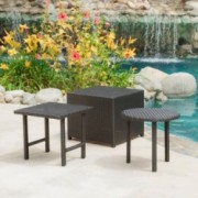 Laguna Outdoor 3pcs Wicker Side Table Set