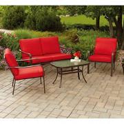 Mainstays Stanton Cushioned 4-Piece Patio Conversation Set, Seats 4  Red