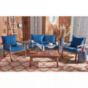 Safavieh PAT7051B Collection Reid Natural and Navy 4-Piece Outdoor Patio Set