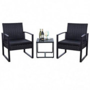 Flamaker 3 Pieces Patio Set Outdoor Wicker Patio Furniture Sets Modern Bistro Set Rattan Chair Conversation Sets with Coffee