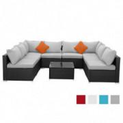 Tappio Outdoor Pe Wicker Black Rattan Patio Sofa Set, Rattan Conversation Furniture Sofa Set with Cushions and Coffee Table