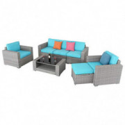 Furnimy 7 Pieces Outdoor Furniture Patio Furniture Sets Conversation Sets Sectional Sofa Couch Wicker Rattan Gray Outdoor Ind