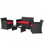 4 Pieces Outdoor Patio Furniture Set Black Wicker Rattan Cousioned Sectional Conversation Sofa with Coffee Tea Table for Back