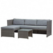 BELLEZE Balboa 3 Piece Patio Conversation Set All-Weather Wicker Rattan Corner Sofa with Cushion and Glass Table, Gray