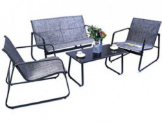 Kozyard Sofia 4 Pieces Patio/Outdoor Conversation Set with Strong Powder Coated Metal Frame, Breathable Textilence, Includes