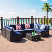 LUCKWIND Patio Conversation Sectional Sofa Chair Table - 7 Piece All-Weather Brown Wicker Rattan Seating Cushion Patio Ottoma
